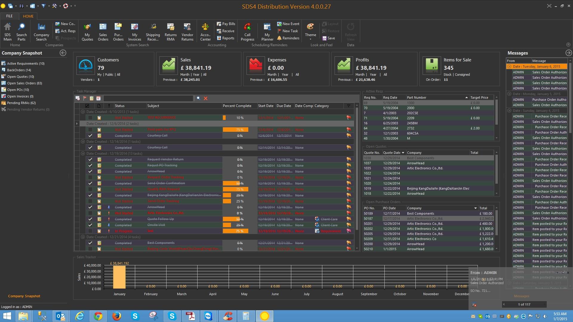SDS4 Distribution Software Software - Dark theme