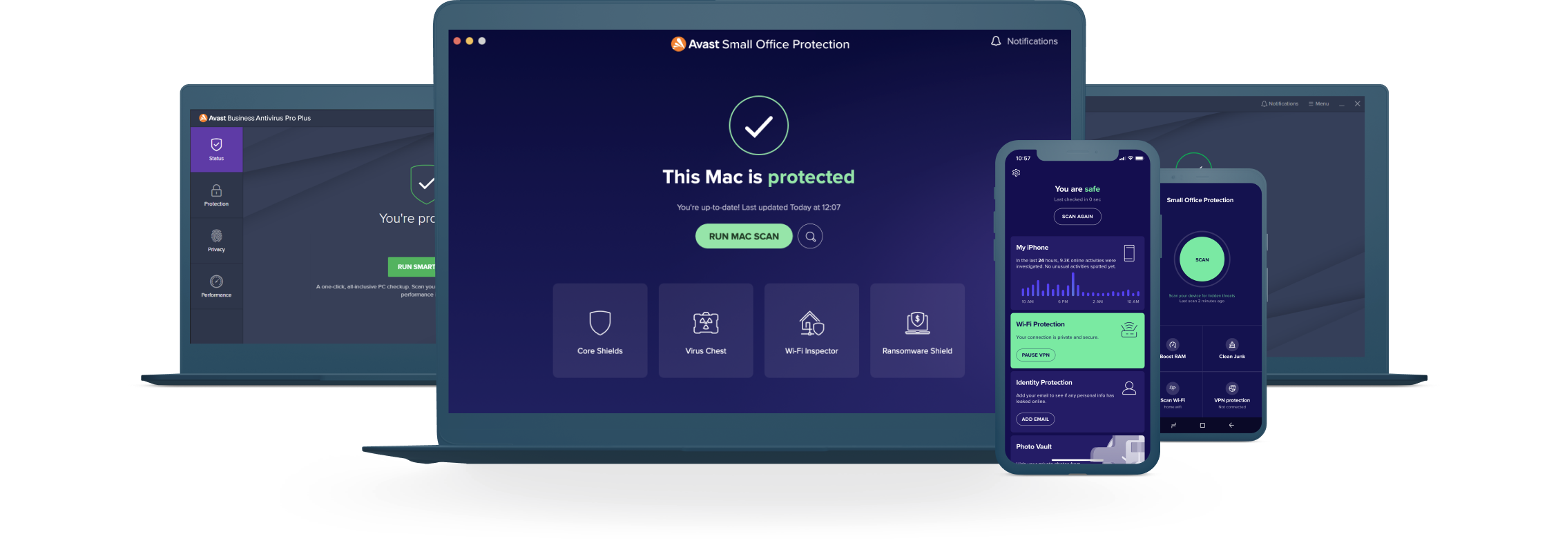 Protection against cyberthreats for up to 10 devices including PC, Mac, iOS, & Android.
