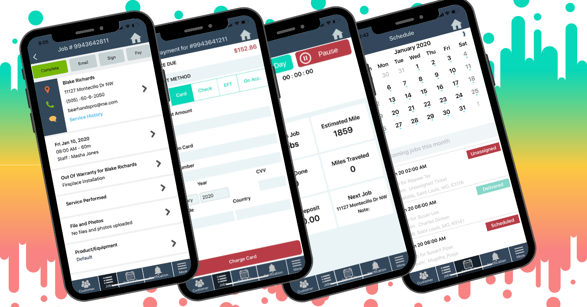 Run your business on the go. Track time, create jobs, schedule, dispatch, order parts receive them everything in one app.