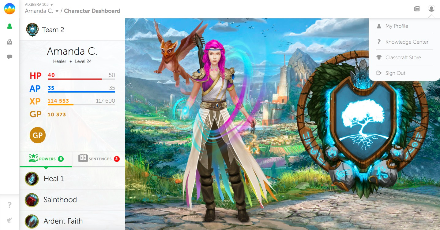 Classcraft character dashboard