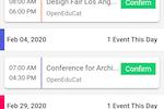 OpenEduCat screenshot: OpenEduCat events