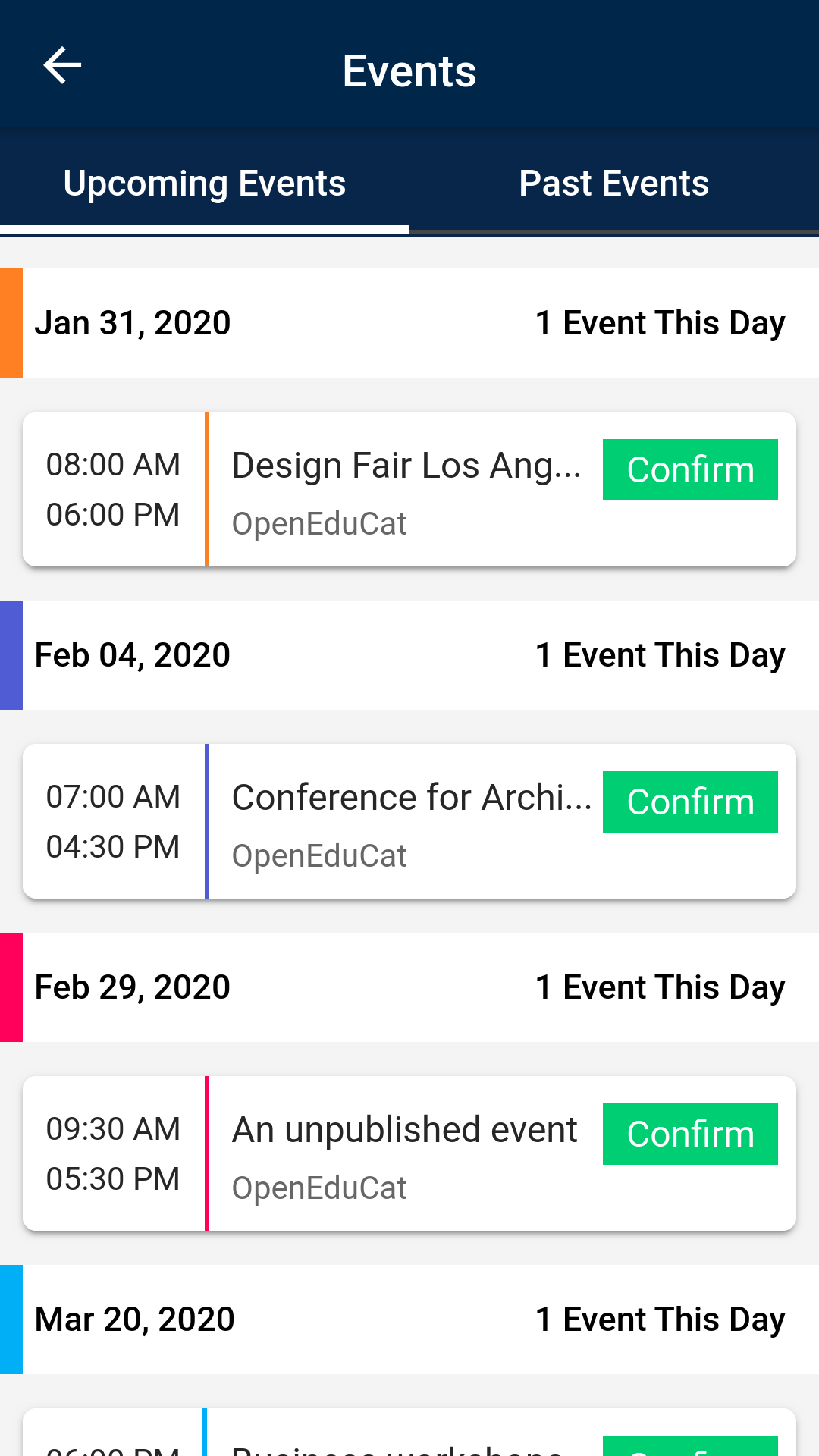 OpenEduCat events