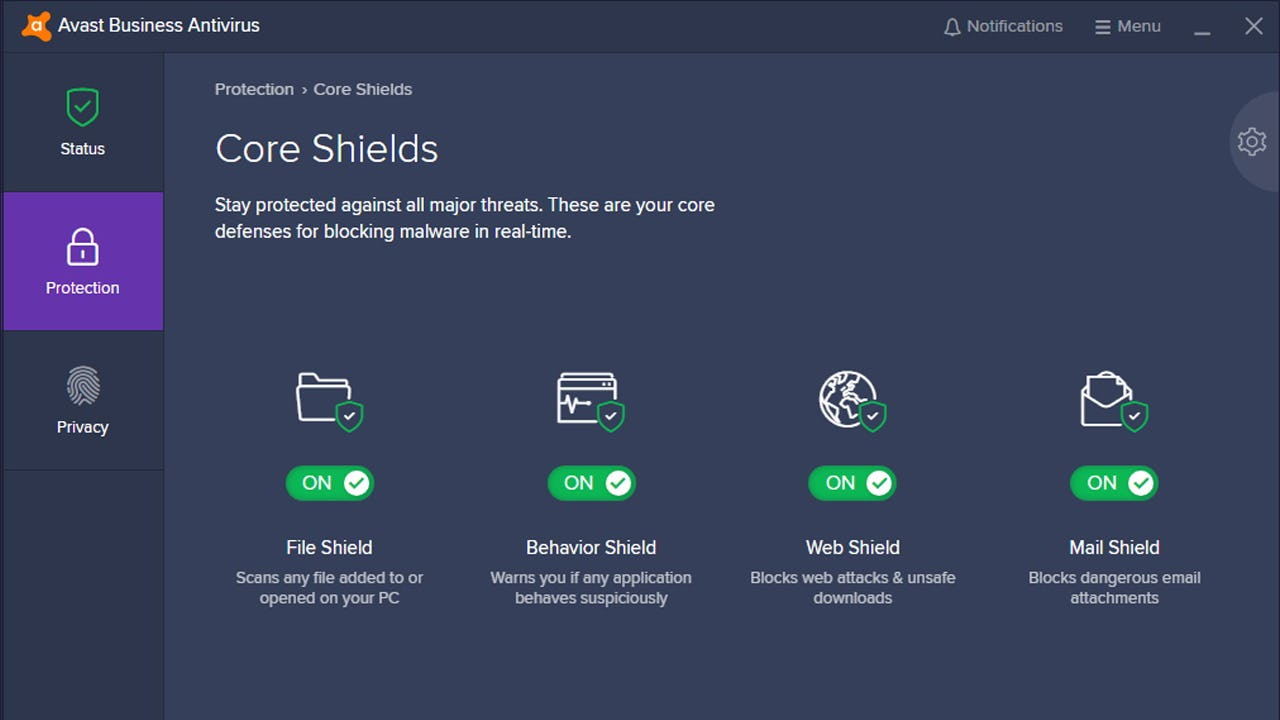 Avast Business Antivirus core shields