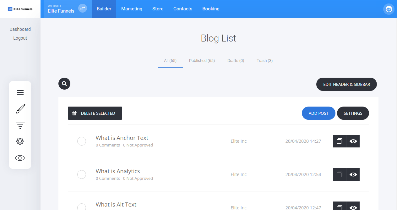 Elite Funnels create blogs