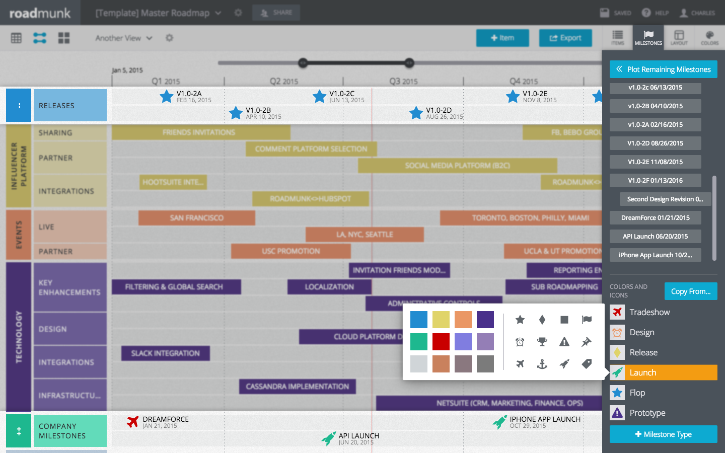 Visualize progress and indicate tactical achievements by adding milestones to a roadmap