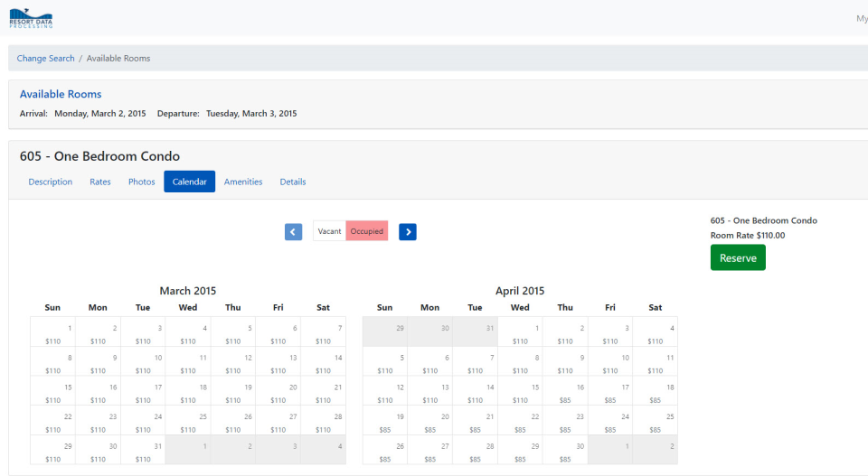 RDPWin availability search