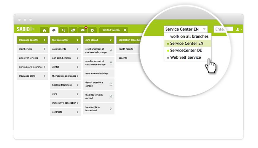 Choose service center