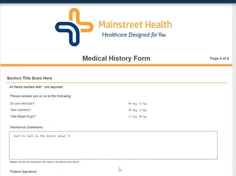 MedForward patient medical history form