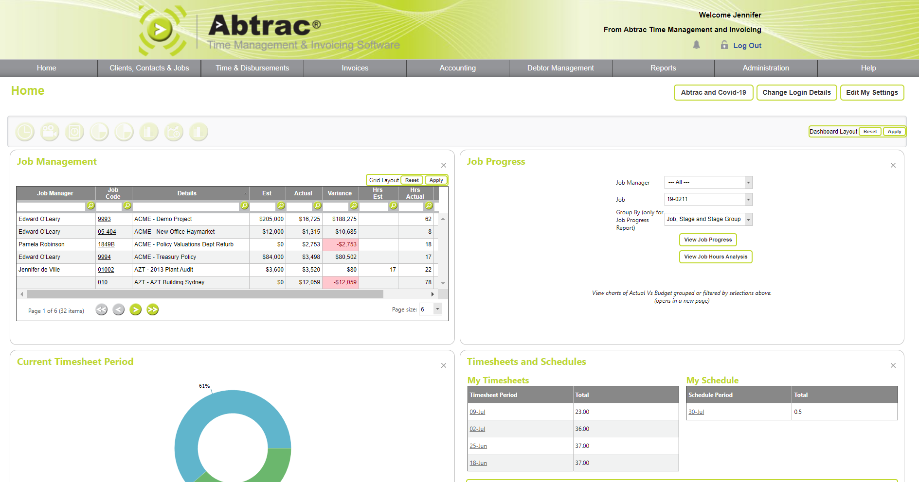 Abtrac Software - Home Screen & Analysis (customisable for each user)