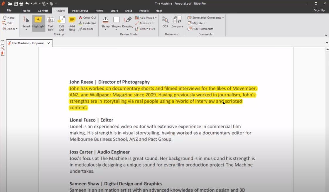 Nitro Software - Nitro highlight text