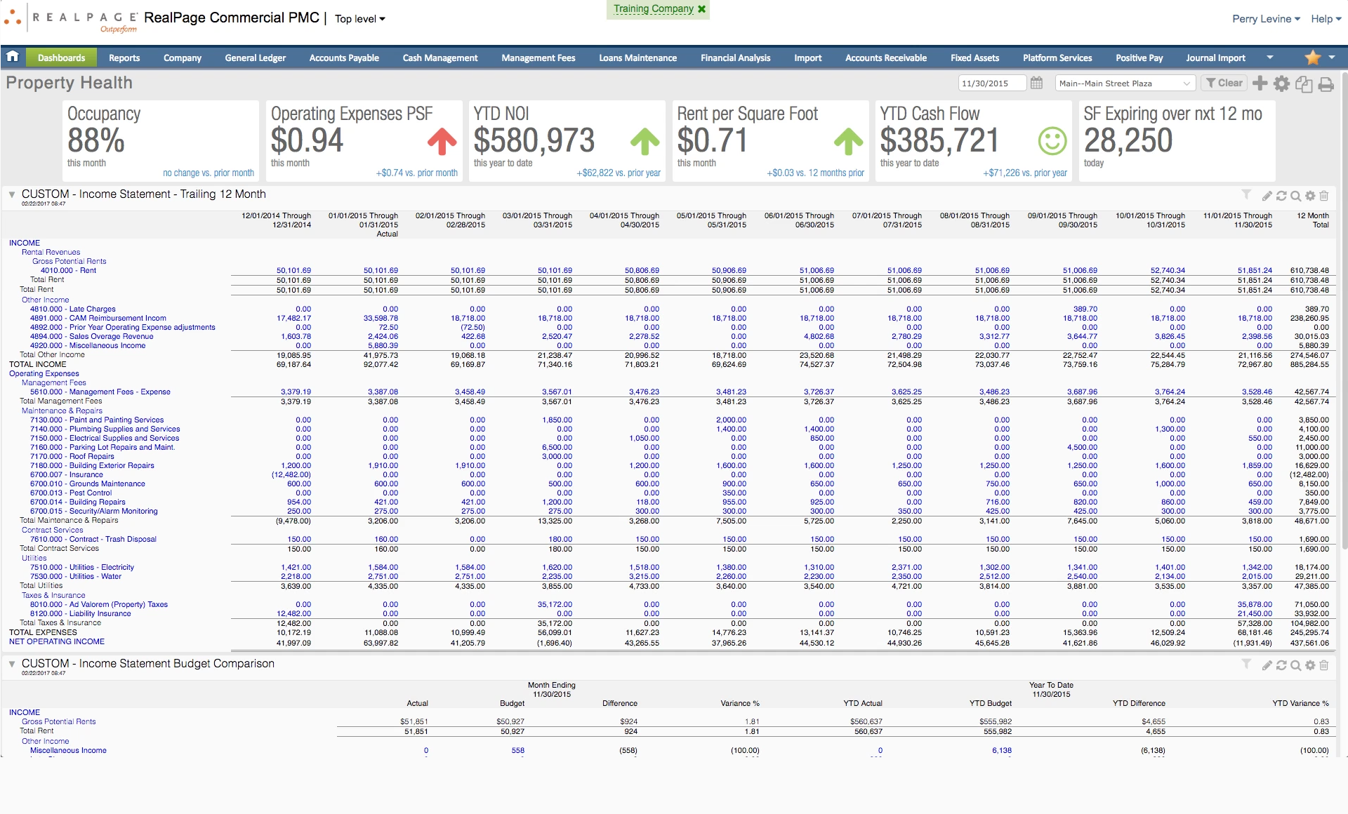 RealPage Software - Property income statement