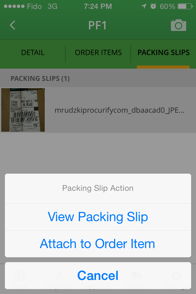 Mobile Receiving Packing Slips