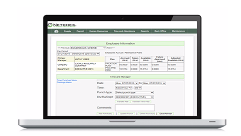 Netchex monitors excessive absences, overtime, unscheduled work, and uses archived data to forecast labor costs