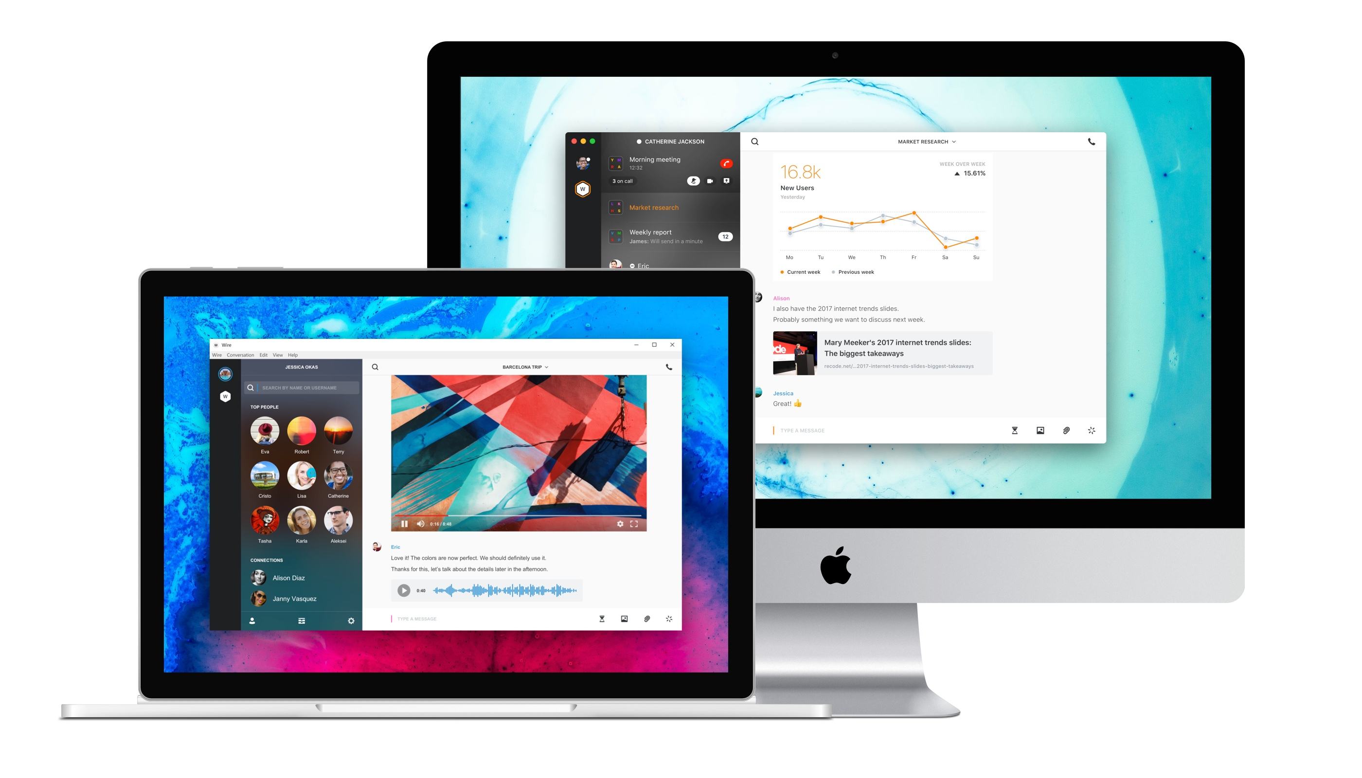 Desktop apps are available for Mac, Windows, and Linux. Wire also works directly in web browsers.