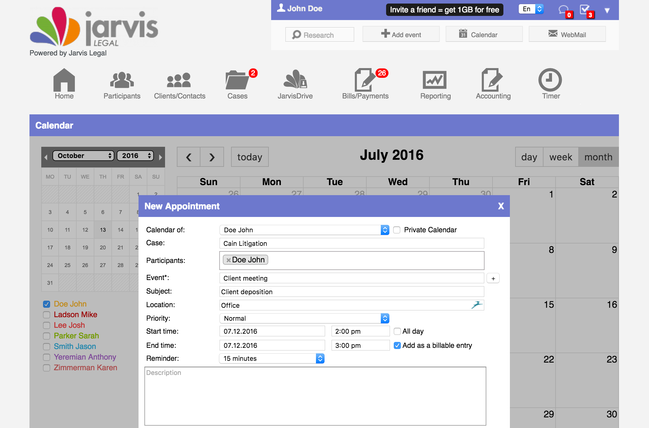 Jarvis Legal Software - Calendar