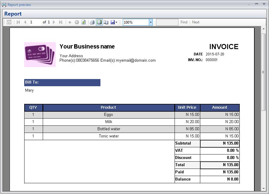 Custom invoices