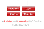 Ordyx screenshot: Login, click in or out, and access back office data via mobile device