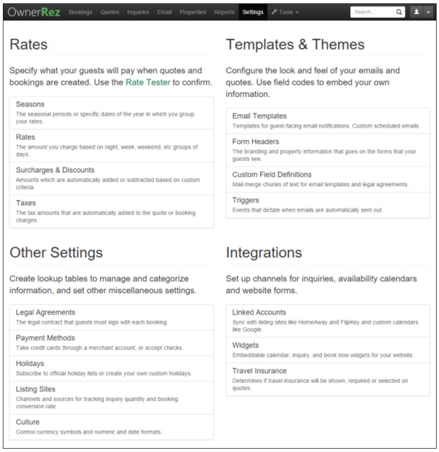 OwnerRez - Settings page