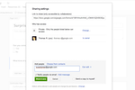 Captura de pantalla de Google Forms: Edit sharing settings and grant access to specific users by inviting them via email