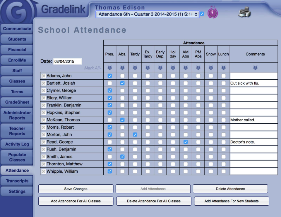 Gradelink – Mark and record student attendance