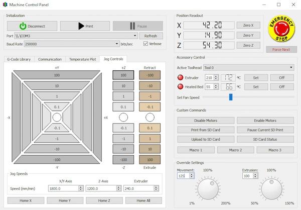 Simplify3D machine control