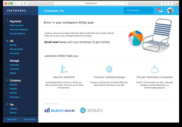 Justworks Software - Justworks - 401k browser