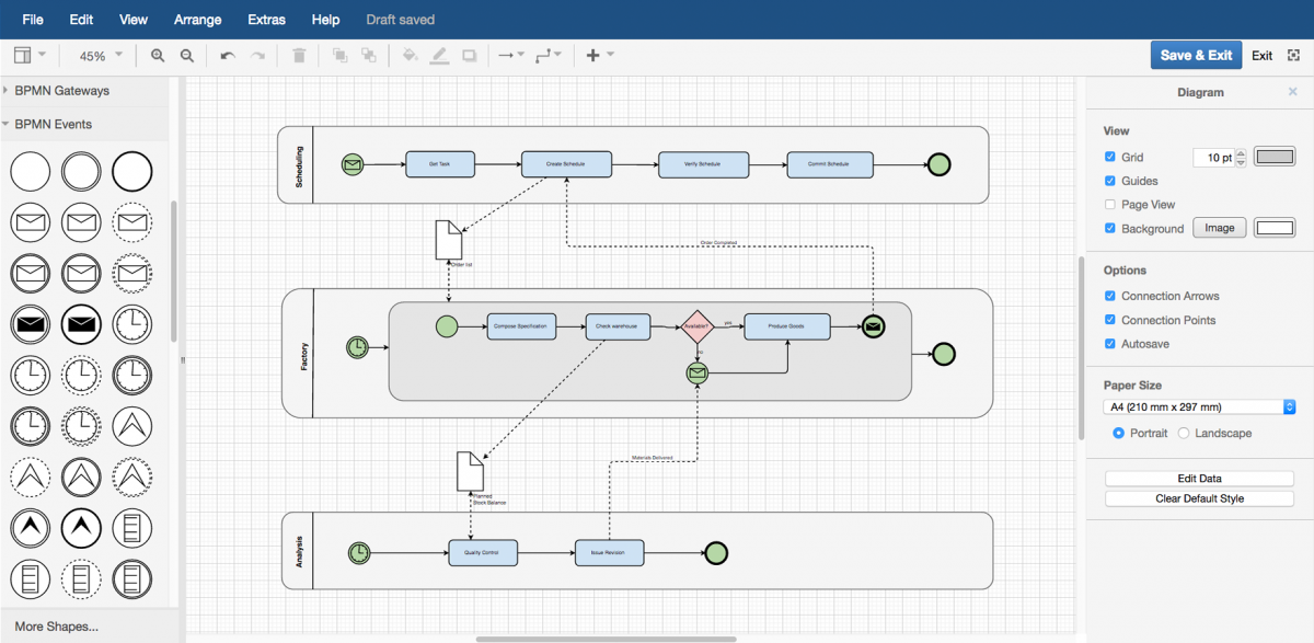Create flowcharts, process diagrams, organization charts, UML diagrams, ER diagrams, network diagrams, and more