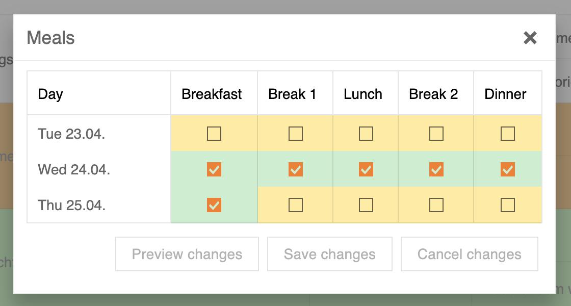 SeminarDesk meals planning