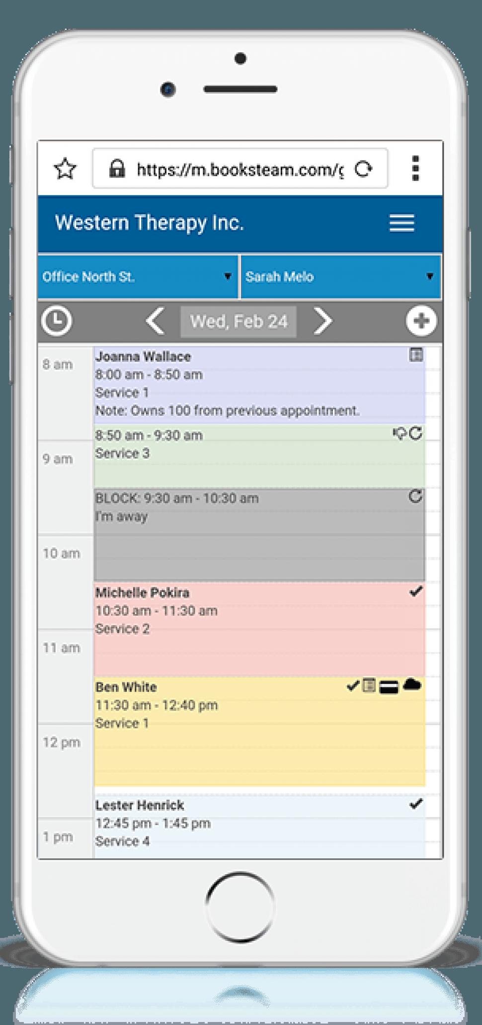 BookSteam Mobile calendar
