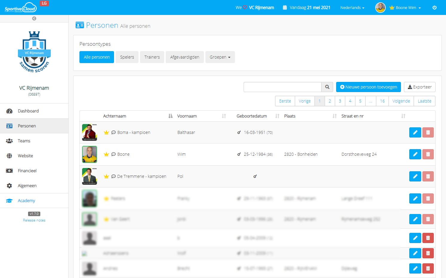 SportiveCloud user data