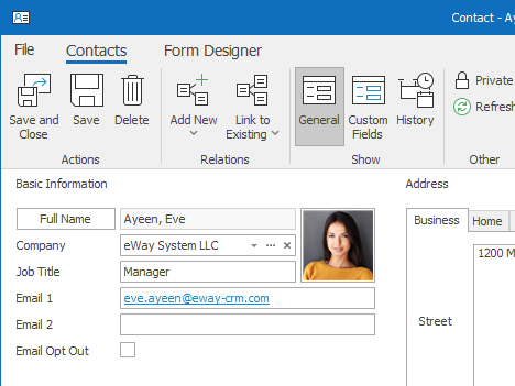 All your contacts are in one place with eWay-CRM. You and your colleagues can easily access them whenever needed. All you need to do is go into the Contacts module. Additionally, every contact is linked to the related company or project.