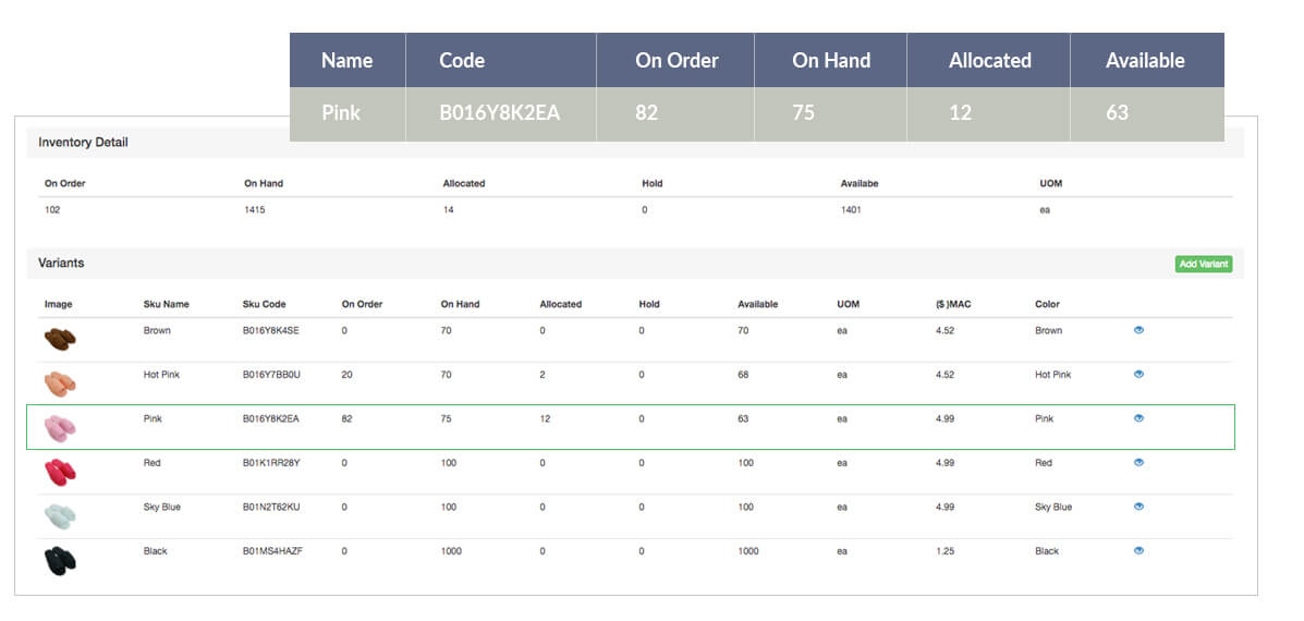 Inventory for multiple product variants can be managed in Brahmin Solutions