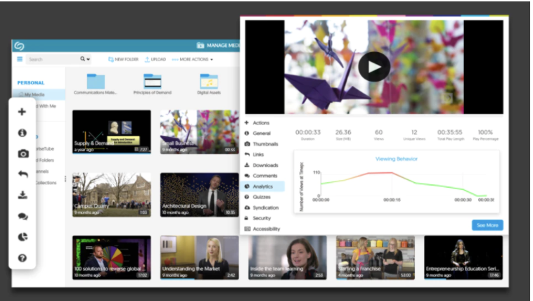 YuJa interface media and analytics