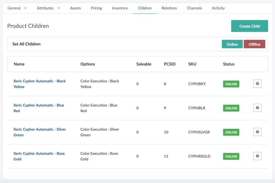 Jasper PIM screenshot: Jasper PIM product relation