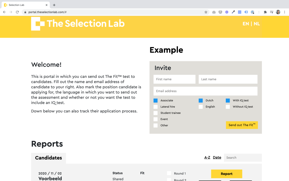 The Selection Lab screenshot: The Selection Lab invite applicants