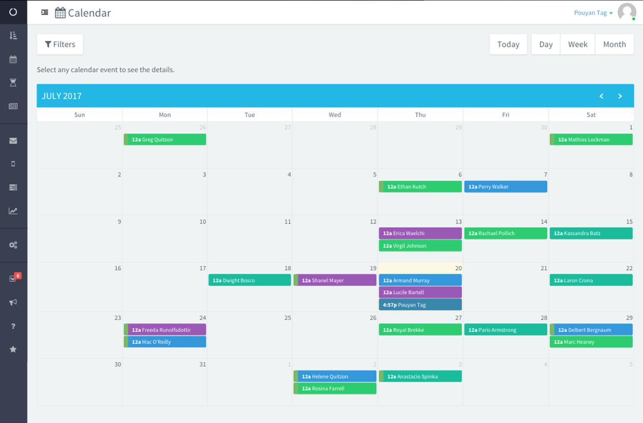 Event Temple calendar