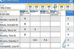 ALMobile screenshot: ALMobile grid time entry