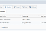 Kaizen Asset Manager Web Edition screenshot: View the asset service schedule with color-coded status indicators