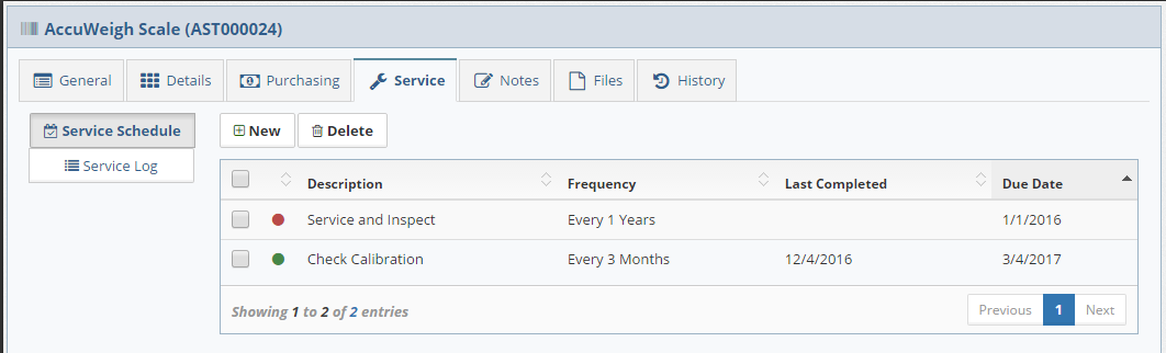 View the asset service schedule with color-coded status indicators