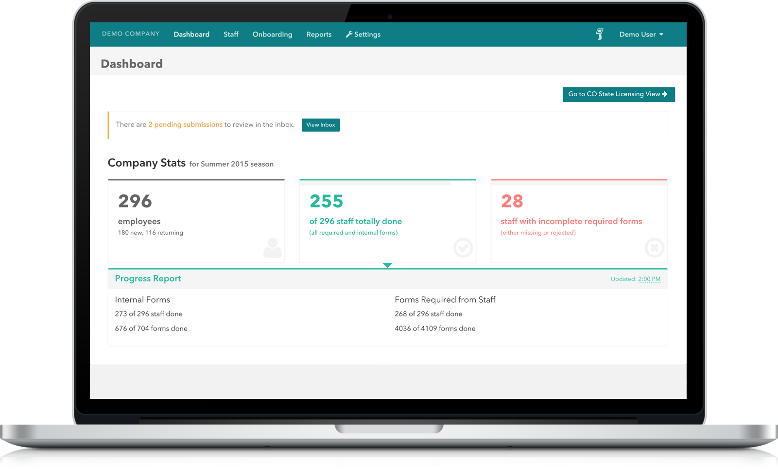 Dashboard showing company stats for a demo company