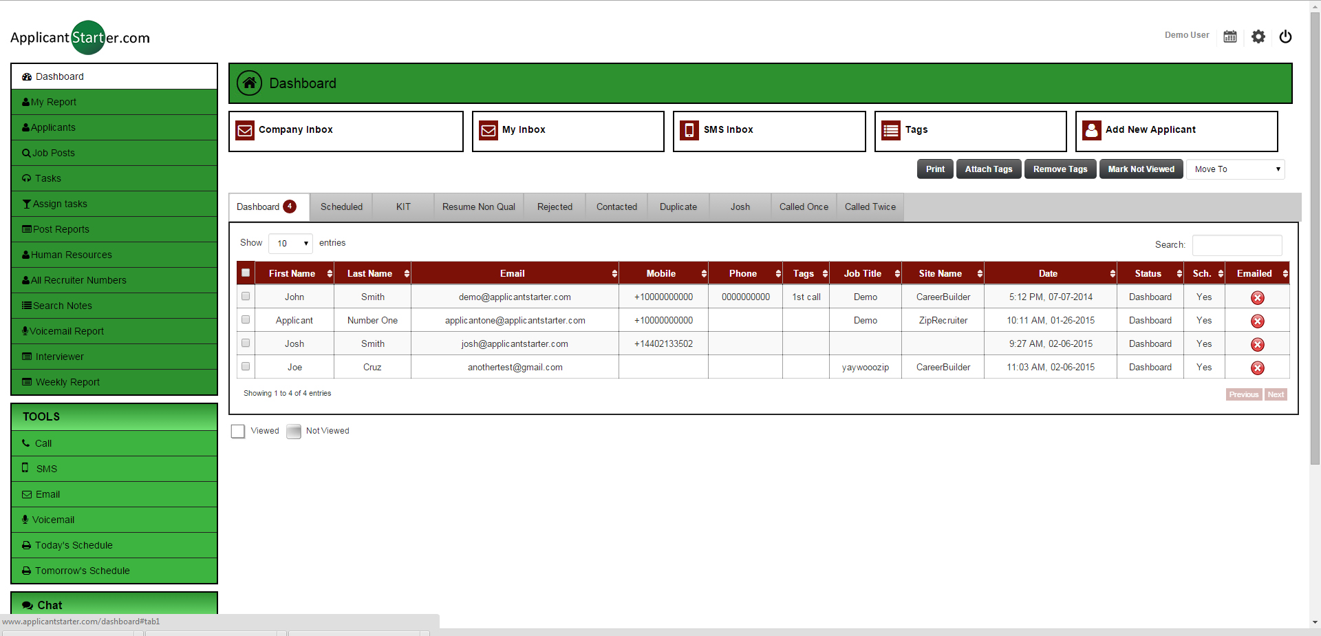 Applicant Starter Software - Dashboard
