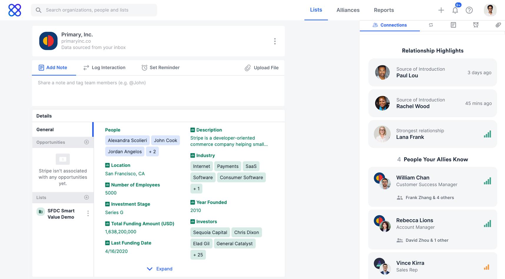 Affinity Software - Track company-level data