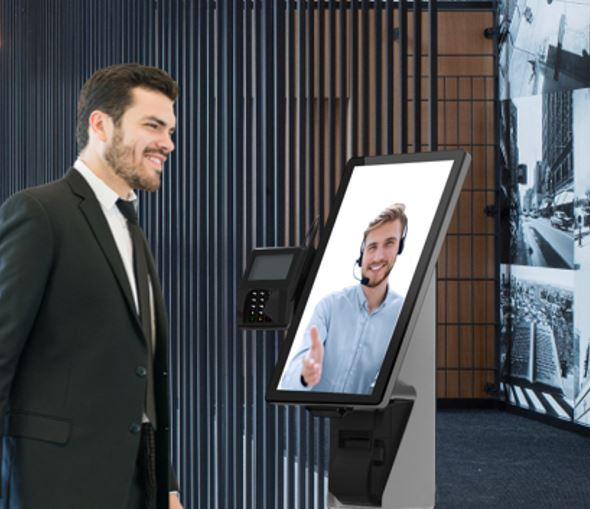 Virtual Front Desk Video Reception on a floor base using Elo Touch Computer