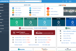 Capture d'écran pour DealerCenter : The DealerCenter home screen displays quick links and system summary widgets for an instant operational overview