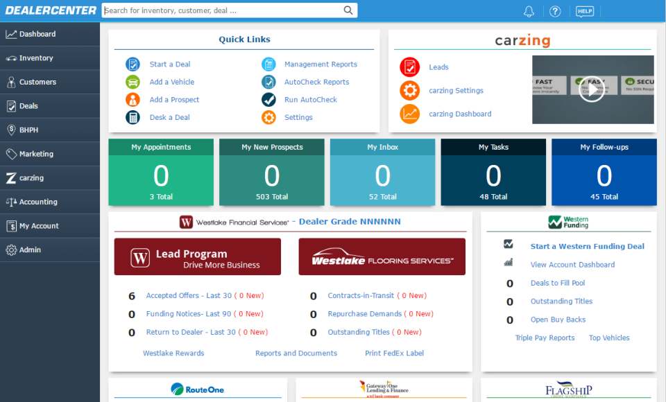 The DealerCenter home screen displays quick links and system summary widgets for an instant operational overview