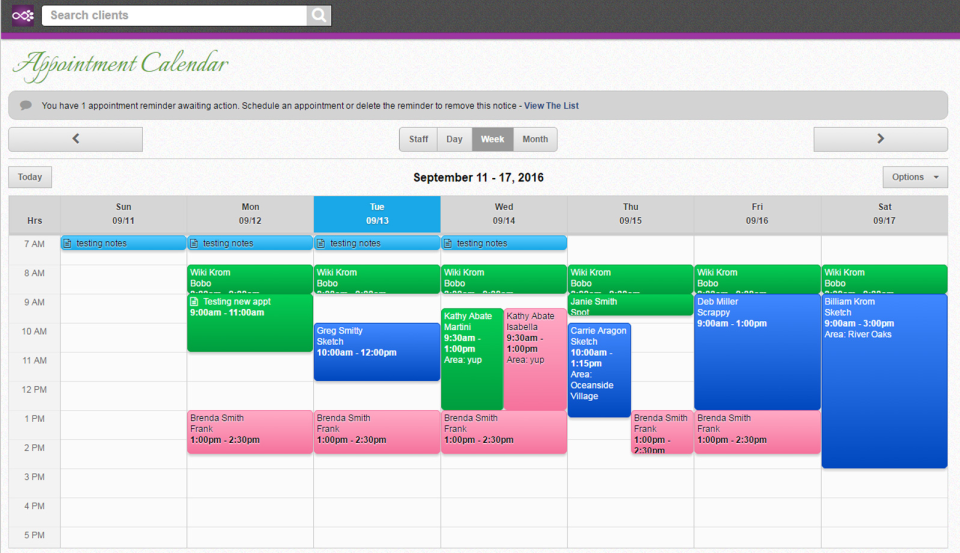 Pawfinity appointment  calendar