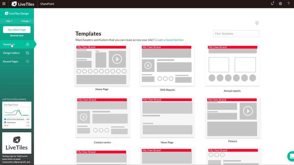 LiveTiles predefined templates screenshot