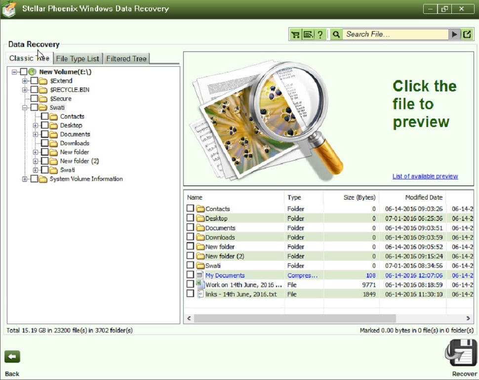 Stellar Data Recovery Professional Software - Select document