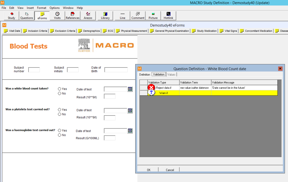 Study definition interface with question definitions, document details and validation type