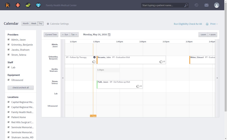 Kareo Billing Software - Calendar